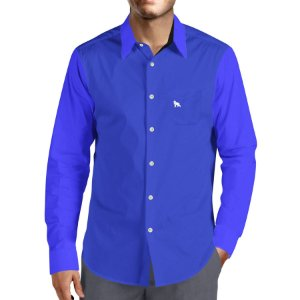 fc1c8acc65 Camisa Social Masculina Lobo Branco Vip blue royal and white