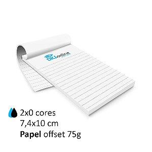 Bloco personalizado 7,4x10 cm 2x0 cores (escala de preto e ciano) em papel offset 75 g