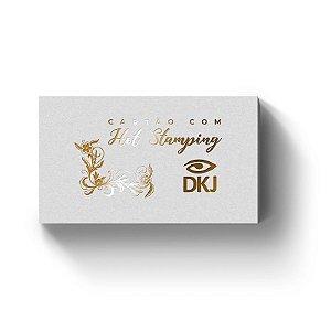 Cartão de visita 9x5 cm hot stamping dourado frente laminação bopp frente e verso corte reto 4x4 cores (colorido frente e verso) em couché 300g
