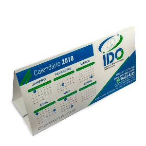 Calendário de mesa 10x20 cm colorido em papel cartão 250 g/m² verniz U.V. total