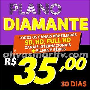 Plano Diamante - SD, HD, FHD, filmes, séries e canais internacionais