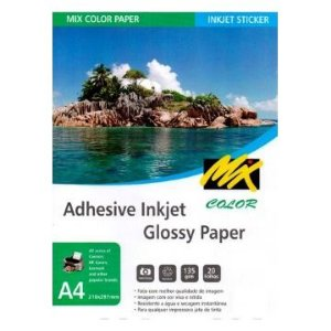 Papel Foto Adesivo Pacote 20 folhas A4 - Adesivo Foto Glossy 135g