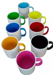 Kit 16 canecas de polimero alca e interior colorido 8 cores - 2 de cada