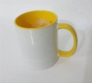 Caneca de porcelana para sublimação Alça e interior Amarelo
