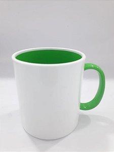 Caneca de polímero alça e interior verde