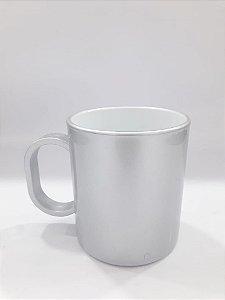 Caneca de polímero premium metálica prata interior branco