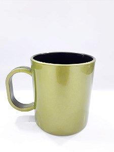 Caneca de polímero premium metálica verde limão interior preto