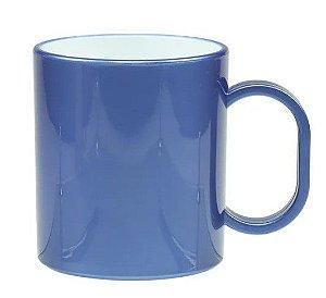 Caneca de polímero premium metálica azul