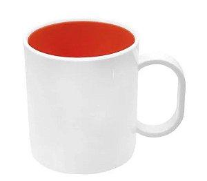 Caneca de polímero premium branca interior laranja