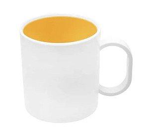 Caneca de polímero premium branca interior amarelo