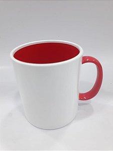 Caneca de polímero alça e interior vermelho