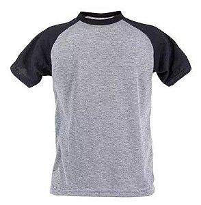 Camiseta Raglan Cinza - Manga Preta M