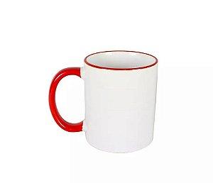 Caneca cerâmica/porcelana borda e alça vermelha