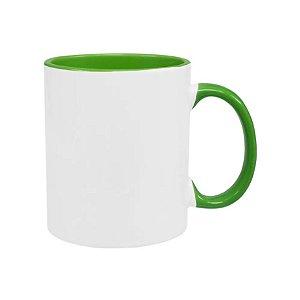 Caneca cerâmica / porcelana alça e interior Verde claro