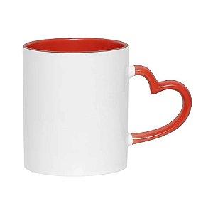 Caneca cerâmica / porcelana interior vermelha alça coração
