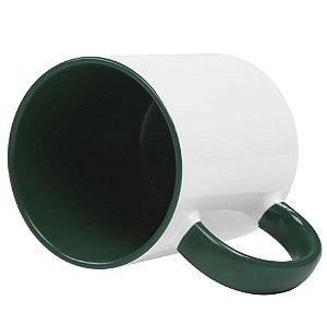 Caneca cerâmica / porcelana alça e interior Verde escuro