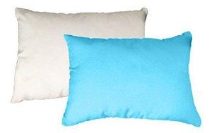 Capa de almofada 20x30 azul bebê/branca