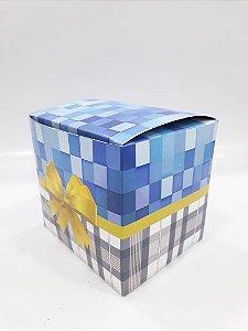 Caixa para caneca laço azul c/ 10un