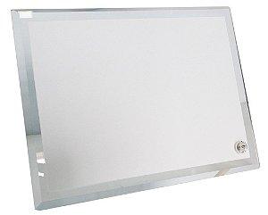Porta retrato de vidro  com borda espelhada