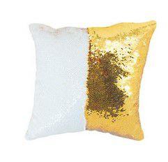 Capa almofada lantejola 40x40 dourado/branco