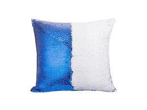 Capa almofada lantejola 40x40 azul escuro/branco