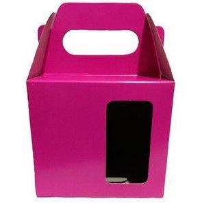 Caixa para caneca com visor rosa 12un