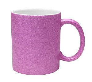 Caneca cerâmica/porcelana glitter lilás