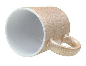 Caneca cerâmica/porcelana glitter bronze