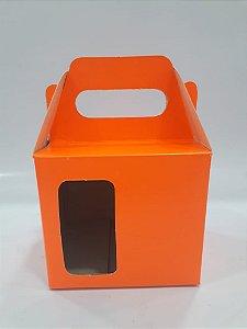Caixa para caneca com visor laranja neon 12un