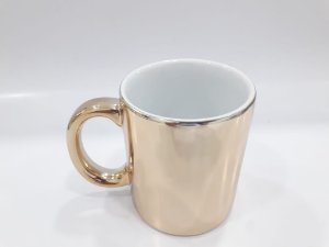 Caneca cerâmica/porcelana cromada bronze
