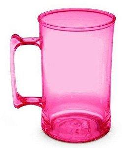Caneca acrilico chopp rosa transparente