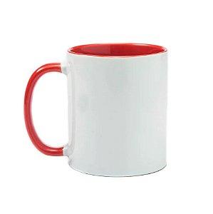 Caneca de ceramica / porcelana alça e interior Vermelha