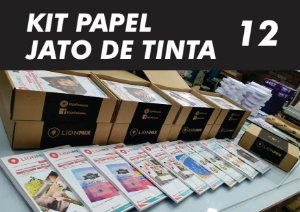 BOX - KIT PAPÉIS E ADESIVOS PARA JATO DE TINTA COM 12 PACOTES