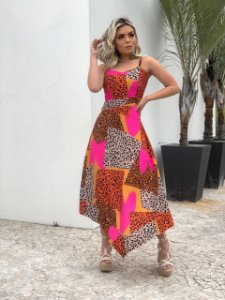 VESTIDO MIDI MIX ANIMAL PRINT