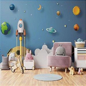 Papel de Parede Vinílico Lavável Infantil Planeta- REF : 1315624241