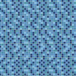 Papel de Parede Vinílico Lavável Azulejo Pastilha Azulejo Tons Azul Claro - REF : PPA0051