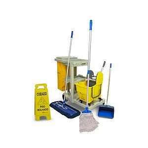 Carrinho de Limpeza Completo Kit 3 com Carrinho, Balde Doblô e Acessórios