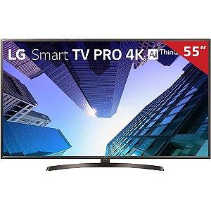 "Smart TV LED ThinQ AI 55"" LG 55UM761C Ultra HD 4K HDMI USB Wi-Fi Integrado"