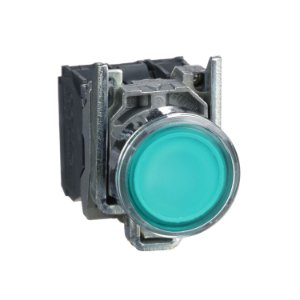 Botão 22mm Metálico Luminoso Led Verde 24VCA CC 1NA 1NF - XB4BW33B5 Schneider Electric