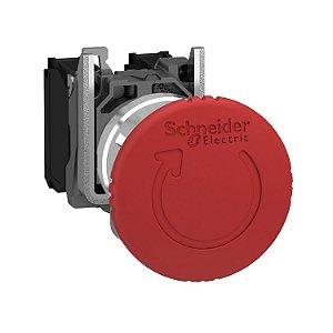 Botão 22mm Metálico Soco Ação Brusca Girar Destr D40 2NF Vermelho - XB4BS8444 Schneider Electric