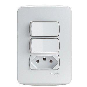 Conjunto 2 Interruptores Simples + 1 Tomada 2P+T 10A 250V PL/BR - S3B69050 Schneider Electric