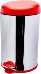 Lixeira Brinox com Pedal 12 Litros Inox com Tampa Vermelha