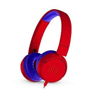 Fone de Ouvido JBL Kids JR300 Headphone On-Ear Vermelho e Azul