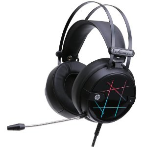 Fone de Ouvido Headphone HP com Microfone Game Stereo USB H160G Led Preto