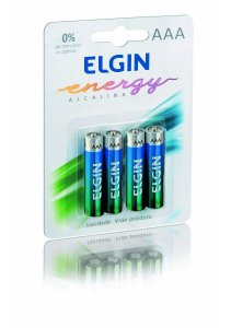 Pilha Alcalina AAA 1,5 V Elgin Blister com 4 unidades