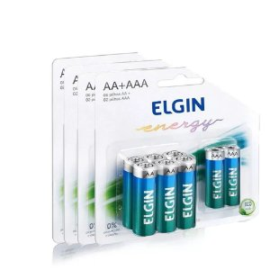Kit de pilhas 6 Elgin AA + 2 AAA - ALCALINA 1,5 V
