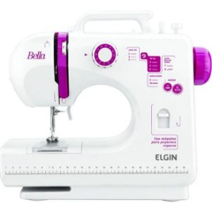 Máquina de Costura Elgin Bella BL-1200 Branca com Rosa Bivolt