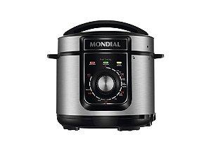 Panela De Pressão Elétrica Mondial Pratic Cook 5 Litros Premium PE-48 Inox/Preto 127V