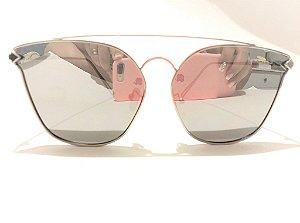Óculos Solar Feminino Espelhado Prata