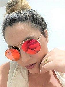 Óculos Solar Feminino Espelhado Rosa